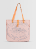 Campomaggi Shopper aus Canvas mit Lederriemen rosa